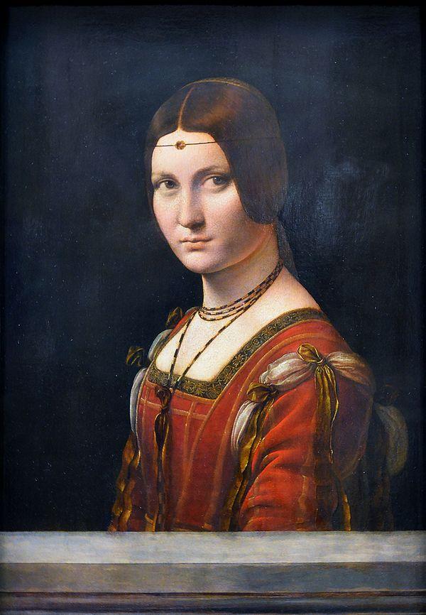 レオナルド・ダ・ヴィンチ《ミラノの貴婦人の肖像》1490-1496年ころ。Wikipediaより。