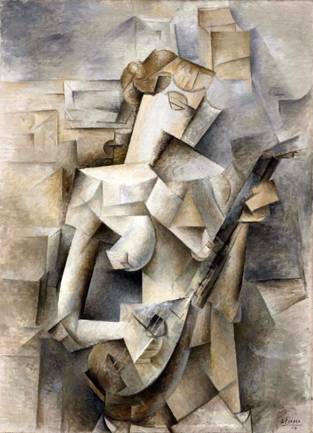 パブロ・ピカソ「マンドリンを弾く少女」(1909-1910年)