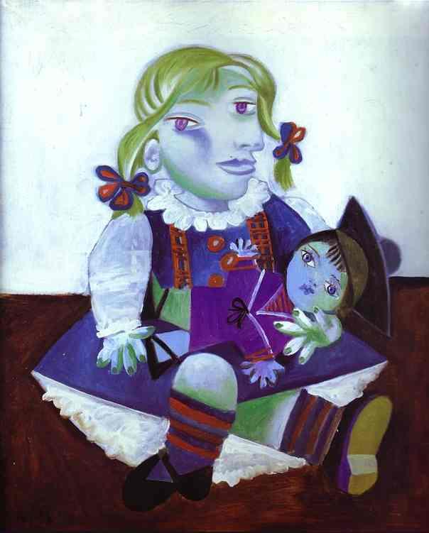 パブロ・ピカソ「人形とマヤ」(1938年)