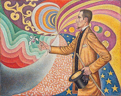 七色に彩られた尺度と角度、色調と色相のリズミカルな背景のフェリックス・フェネオンの肖像 (1890年)