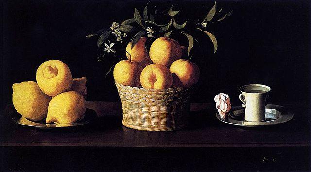 フランシスコ・デ・スルバランの「レモン、オレンジ、薔薇のある静物」