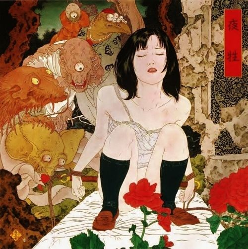 「夜性」(2001年)。しゃがみこむが背筋は伸ばして官能的な表情をした少女を覗きこむ眼が血走った妖怪たち。