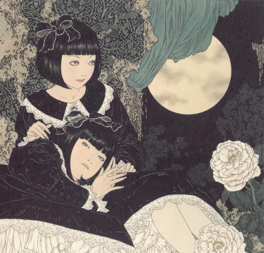 「ぜんまい少女箱人形」2004年。モデルは黒色すみれのさちとゆか。