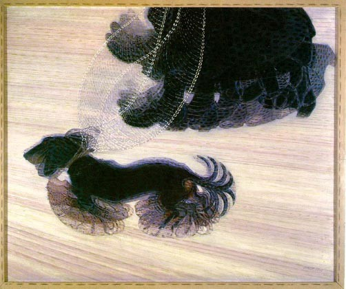 未来派の画家ジャコモ・バッラ「つながれた犬のダイナミズム」。日本の漫画でキャラが走るときや手を動かす際にこのような表現が見られる。