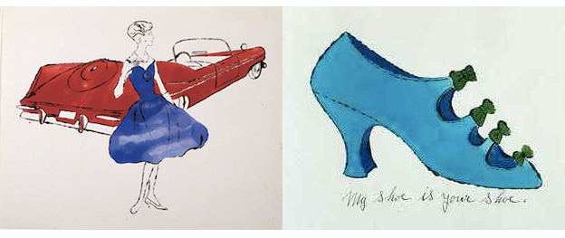 ブロッテド・ライン・スタイルを使ったウォーホルの50年代の作品。自動車、靴、ポートレイト作品が多い。
