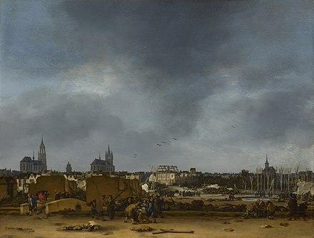 エフベルト・ファン・デル=プール《1654年の爆発後のデルフトの眺め》