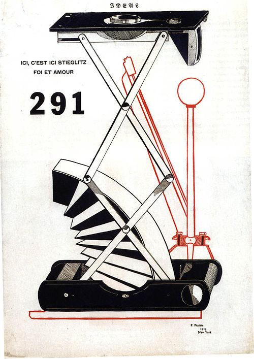 フランシス・ピカビア「Ici, c'est ici Stieglitz, foi et amour, cover of 291, No. 1」(1915年)