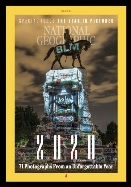 リッチモンドの『ロバートE.リーの記念碑の改ざん』がナショナル・ジオグラフィックの表紙を飾る