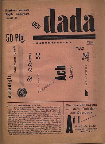 バーダーとハウスマンによる詩「ダダデジー」を含む『der Dada』vol1 の表紙。1919年。