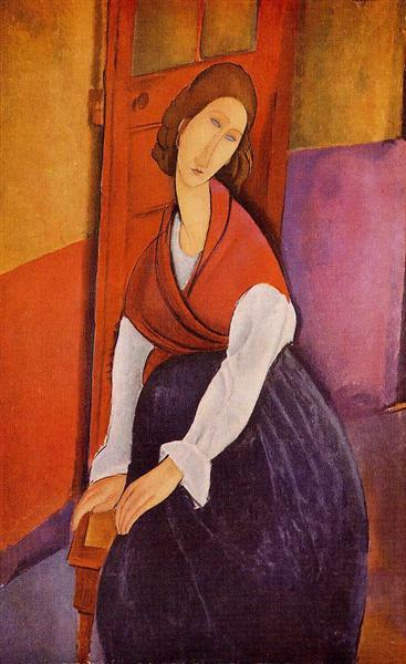 『赤い肩掛けを着たジャンヌ・エビュテンヌ』(1917年)