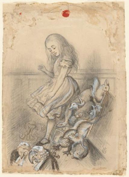 『不思議の国のアリス』挿絵のための下絵。第12章「アリスの証言」の場面。鉛筆に白色絵の具で強調。1864年ころ。