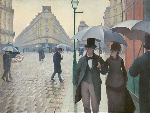 《パリ通り:雨の日》1877年