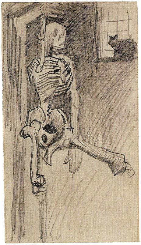 フィンセント・ファン・ゴッホ「つるされた頭蓋骨と猫」
