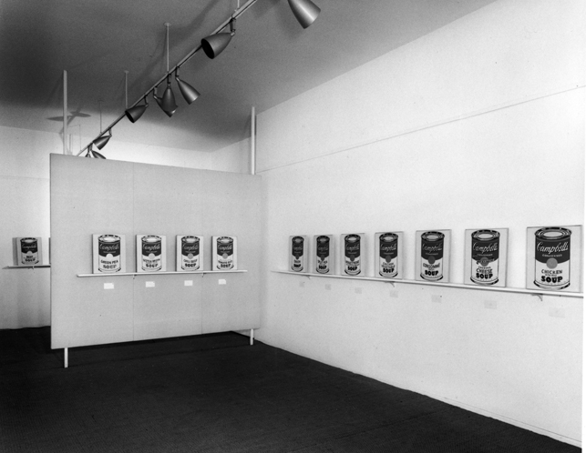 nstallation view, Ferus Gallery, Los Angeles, 1962, with Campbell's Soup Cans. Photograph: Seymour Rosen. © SPACES—Saving and Preserving Arts and Cultural Environments