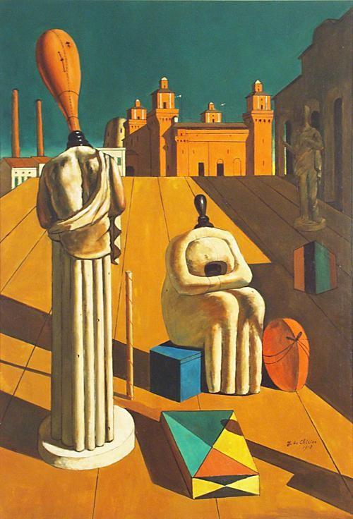 ジョルジョ・デ・キリコ《不安を与えるミューズたち》(1916-1918年)