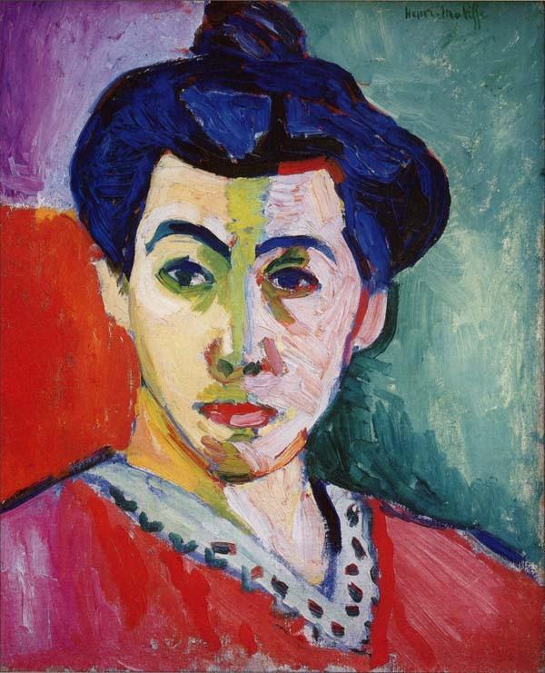 アンリ・マティス『緑のすじのあるマティス夫人の肖像』(1905年)。フォーヴィスムが20世紀から始まる前衛美術の火蓋を切ったと言われる。その前の印象派に対する反発もあった。