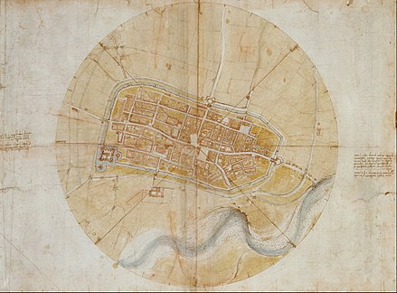 チェザーレ・ボルジアのために製作したイモラ要塞化計画地図。