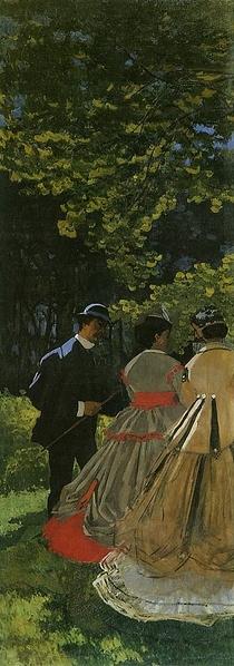 《草上の昼食》1865-66年(左側の断片)