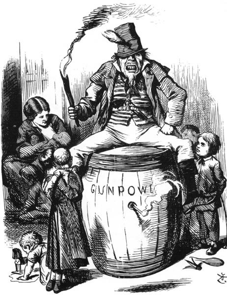 アイルランド人の男性を類人猿のように表現したテニエルのイラスト。1867年12月28日号。