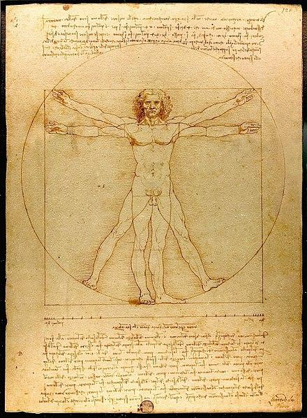 レオナルド・ダ・ヴィンチの『ヴィトルヴィアンの男』(1490年頃)は、古代の作家がルネサンスの思想家に与えた影響を実証している。レオナルドは、ヴィトルヴィウスの『De architectura』(紀元前1世紀)の仕様書に基づいて、完璧なプロポーションの人間を描こうとした。