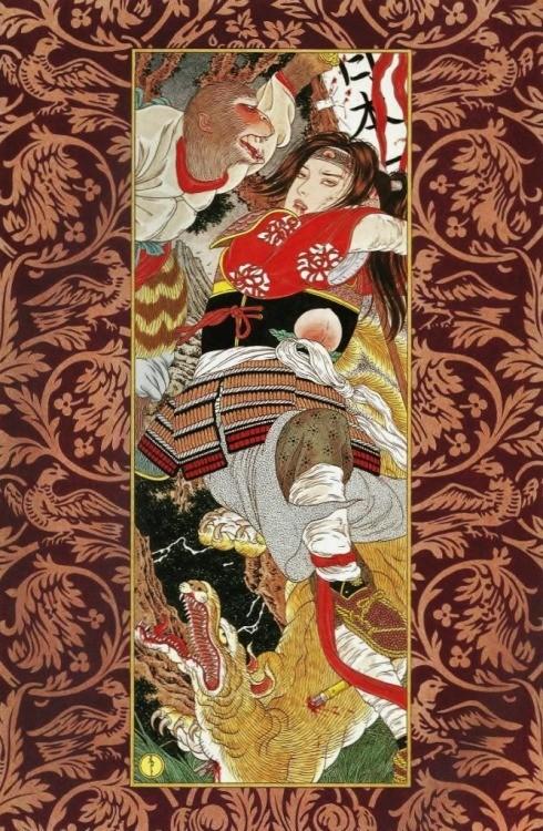 「欲張り桃太郎」(1998年)。山本タカトで検索するとキーワードで「桃太郎」が並ぶのが気になって調べると、ネットの一部で山本タカト版桃太郎の絵が話題になっているのですね。
