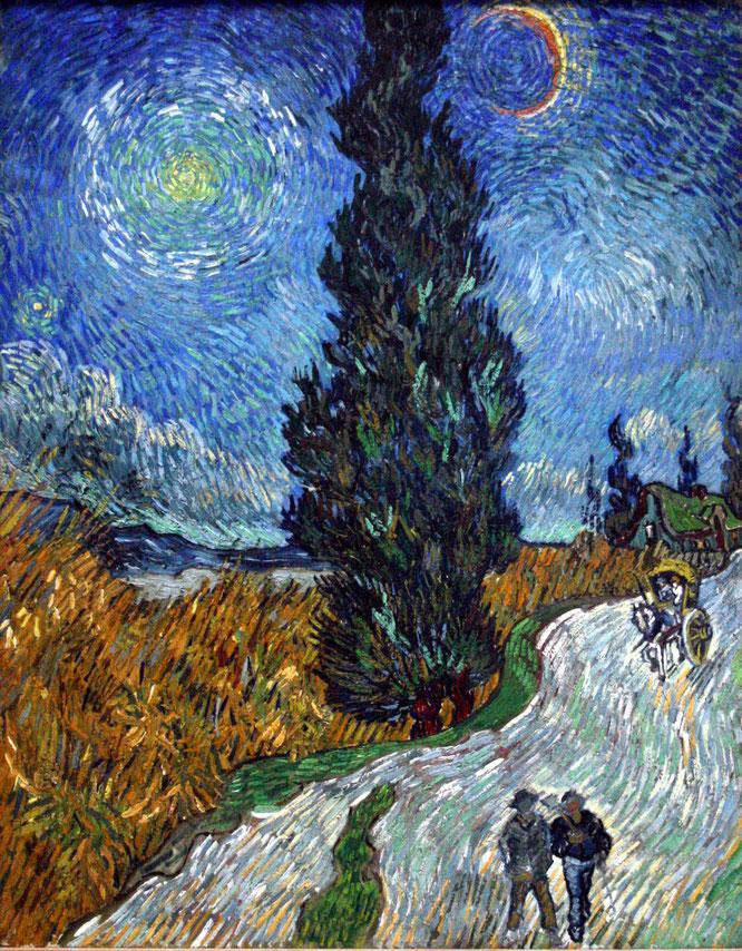 フィンセント・ファン・ゴッホ《糸杉と星の見える道》(1890年)
