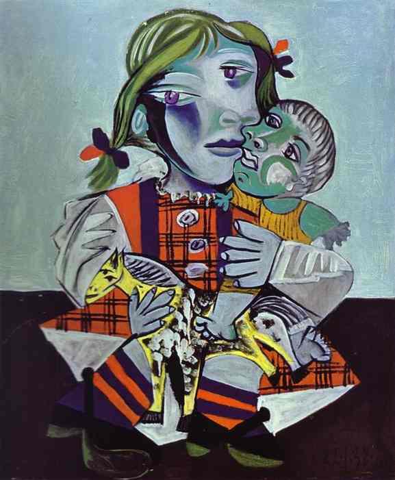 パブロ・ピカソ「人形とピカソの娘」(1938年)