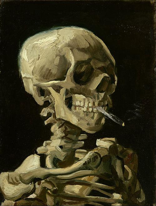 フィンセント・ファン・ゴッホ「火の付いたタバコをくわえた骸骨」(1885年)