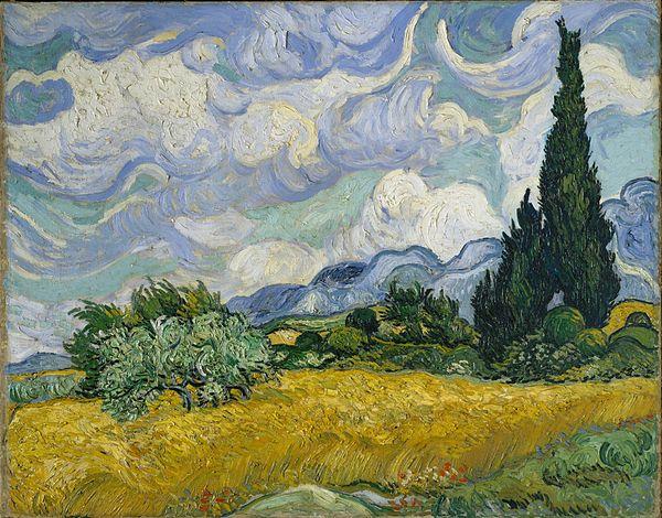 ヴィンセント・ヴァン・ゴッホ《糸杉と小麦畑(F717)》(1889年)。画面右側に見える大きな糸杉が東向きの窓から描かれた絵画シリーズの目印の1つ。本来よりも糸杉を拡大した形で描いている。