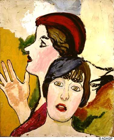 ジャン・デビュッフェ「Two Female Heads In Profile」(1934年)