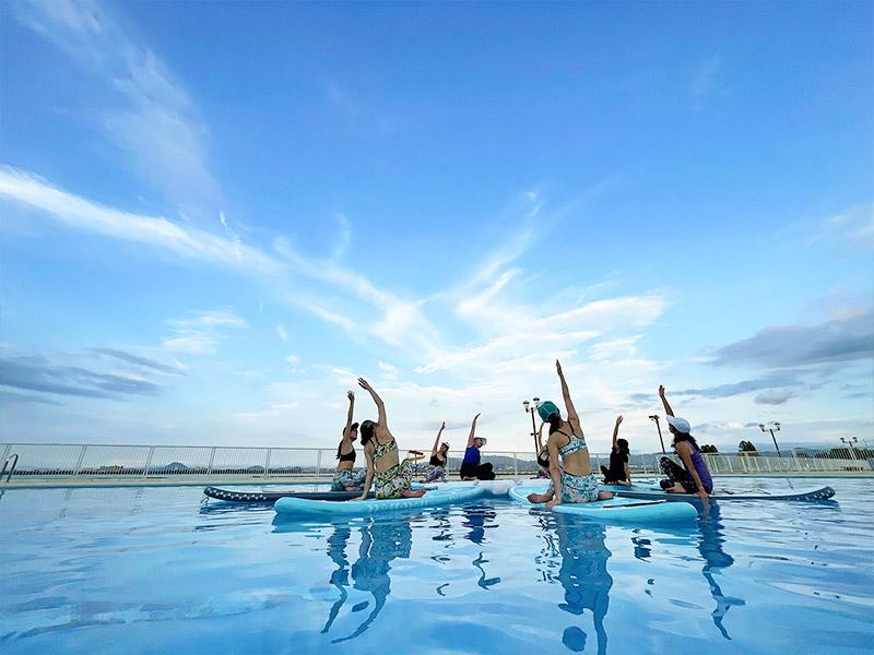 滋賀 琵琶湖 プールSUPYoga 夕やけサップヨガ体験!