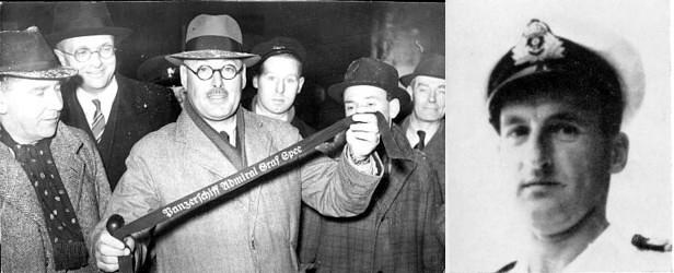 Capt. P. Dove mit Mützenband das er und Capt. C. Pottinger von Langsdorff in Montevideo erhalten hatten.