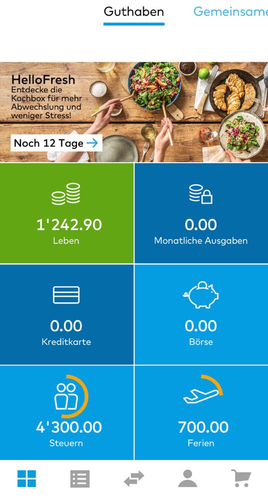 Kontoübersicht in der App von Zak.