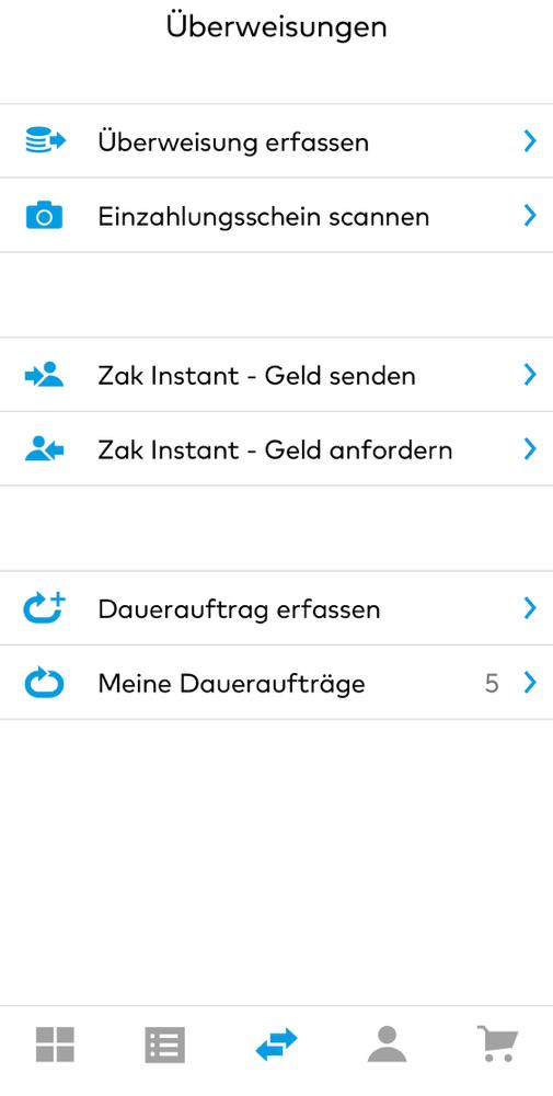 Funktionen in der App von Zak.