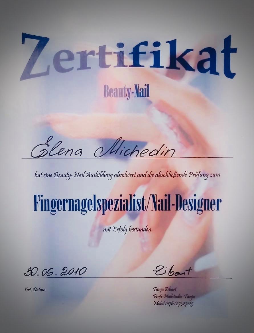 Zertifikat Fingernagelspezialist/ Nail-Design