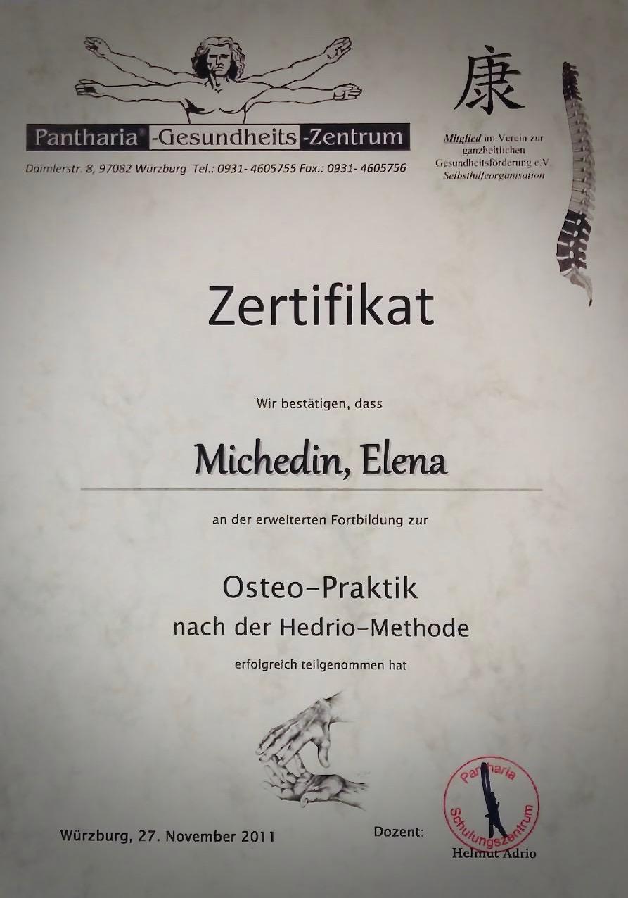 Zertifikat Osteo-Praktik, Hedrio-Methode