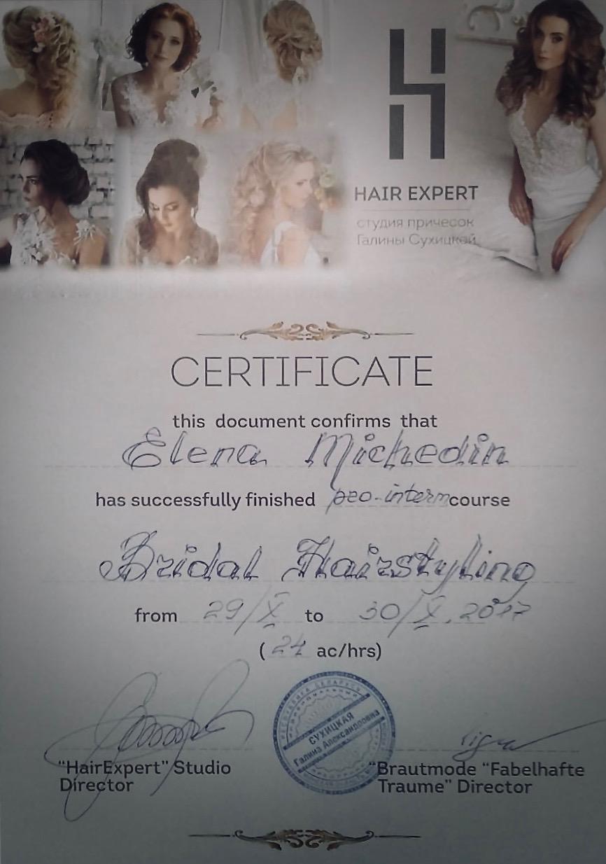 Zertifikat Bridal Hairstyling