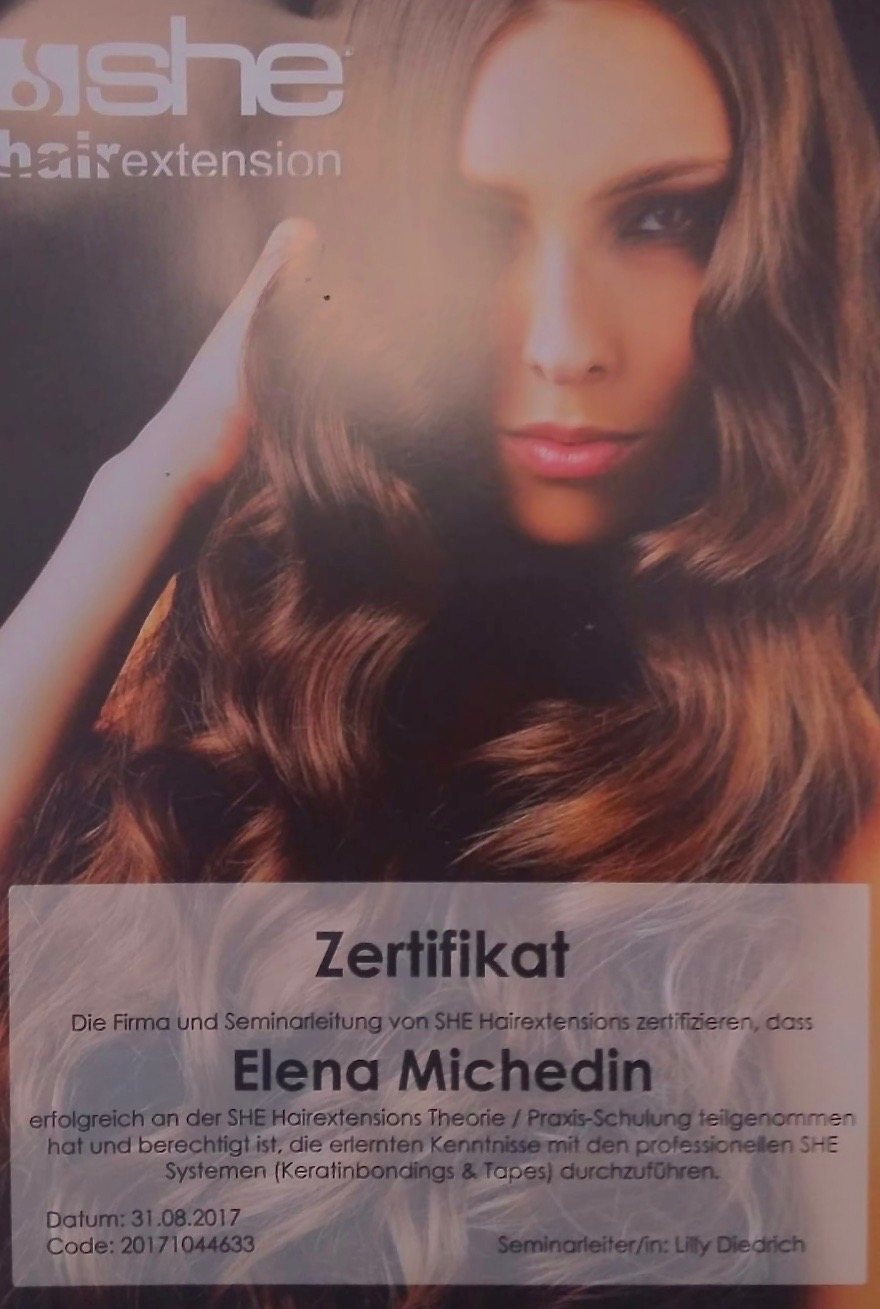 Zertifikat SHE Hairextensions