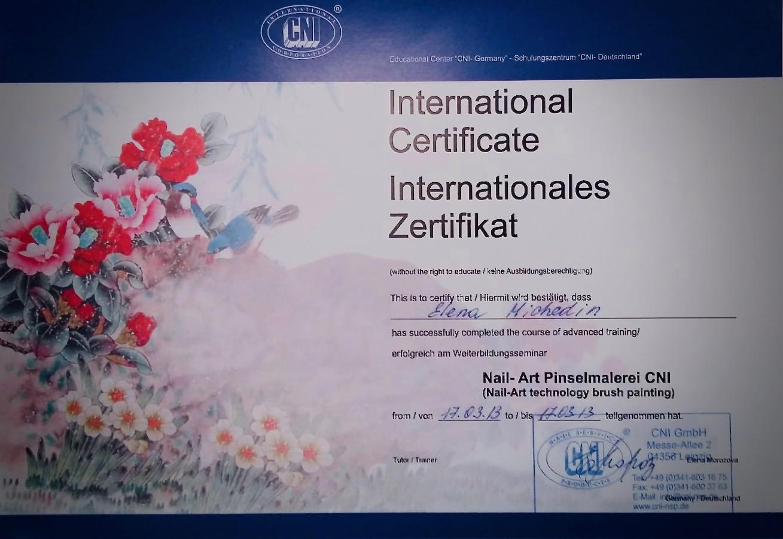 Internationales Zertifikat Nail Art Pinselmalerei CNI