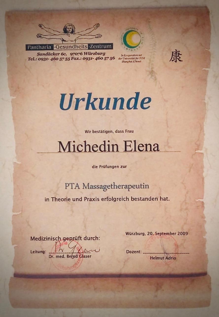 Zertifikat PTA Massagetherapeutin