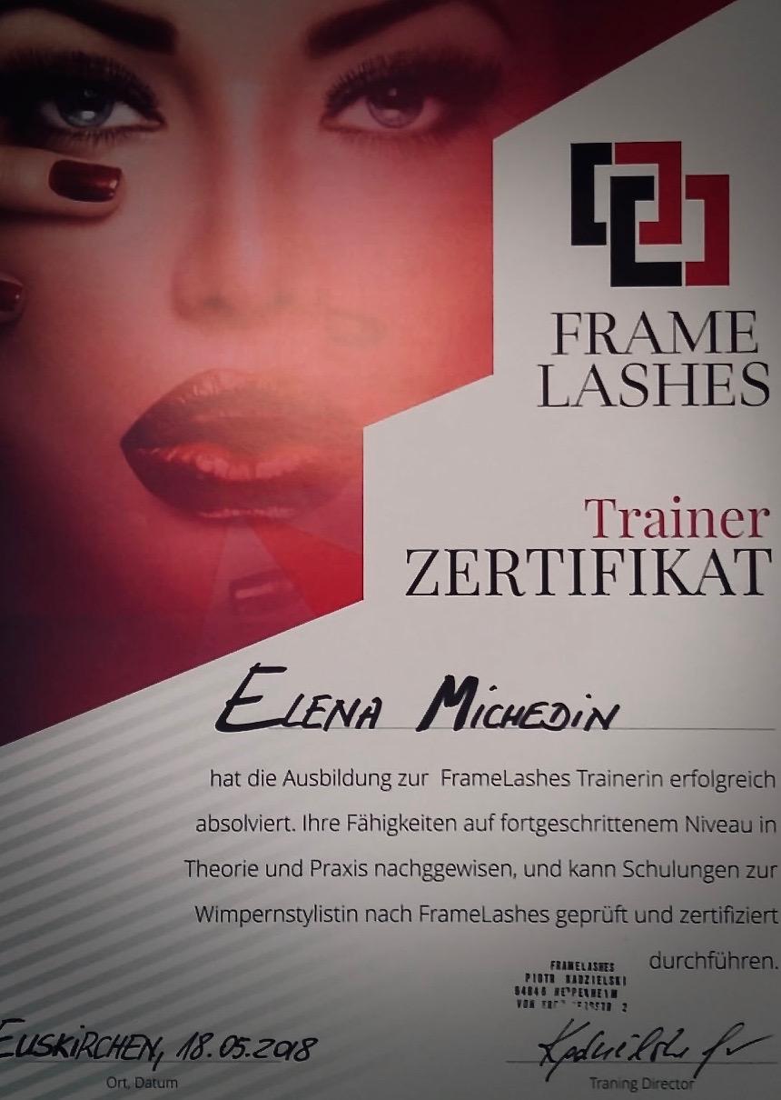 Zertifikat Trainerin Wimpernstyling FrameLashes