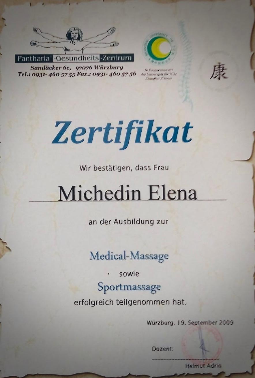 Zertifikat Medical Massage & Sportmassage