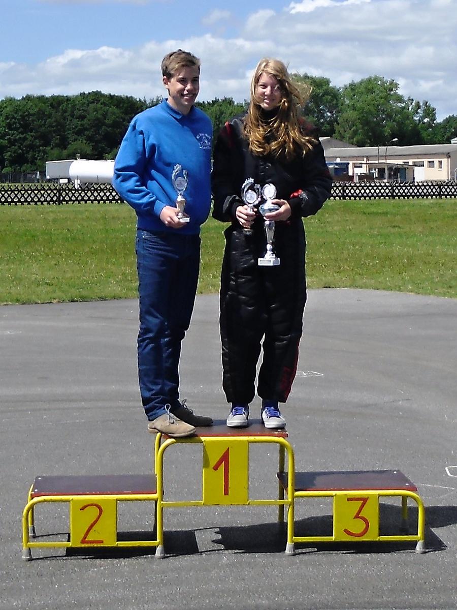 Das schnellste Paar des Tages: Janica Schlüer (re.) vom MSC Land Hadeln in Klasse 4 und Meik-Leon Strohecker (li.), MC Blau-Weiß Sanitz in Klasse 6