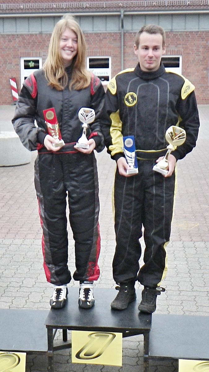 Die beiden Tagesschnellsten: Janica Schlüer (MSC Land Hadeln, li.) und Florian Schreiber (BSC Aukrug)