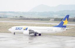 先島撤退を発表したスカイマーク。住民に波紋が広がっている=1月29日、石垣空港