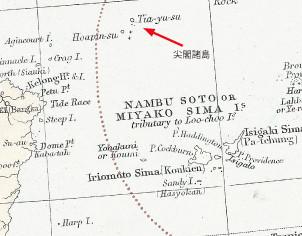1887年、スタンフォード社「China」(オーストラリア国立図書館蔵)。尖閣の魚釣島(hoapin―su)が国境線の東側にあり、日本領として描かれている