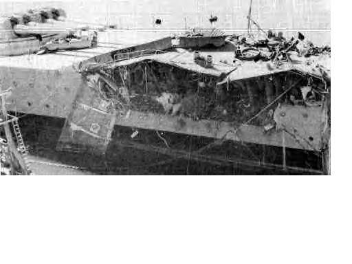 Schwere Bugtreffer des Schlachtschiffs Massachusetts (Casablanca 1942)