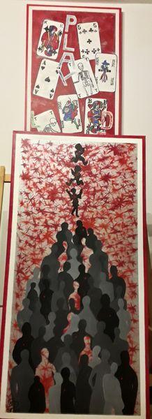 Pandemie, Acryl- und Spachtelarbeit, 100 x 50 cm, 2020