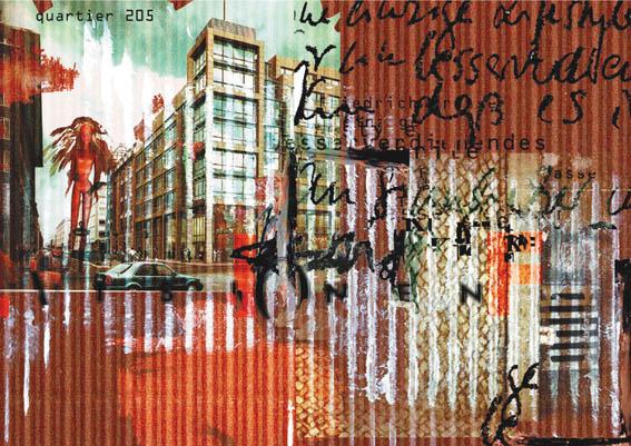 Reihe so gesehen berlin, Barbie in der Friedrichstraße, digitale Collage/Malerei, 1996