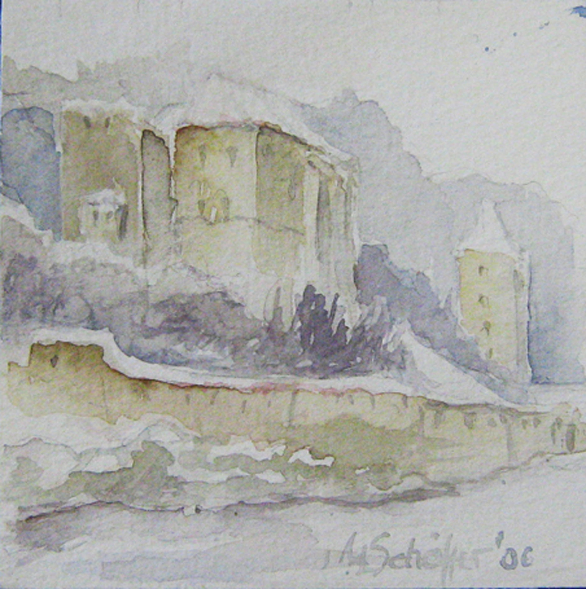 Margareta Schäffer: Niederhaus im Winter, Aquarell, 20x20